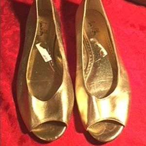 Sam & Libby Gold Leather Flats
